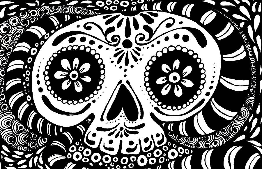 Day Of The Dead Drawing - Tangled Skull by Nada Meeks