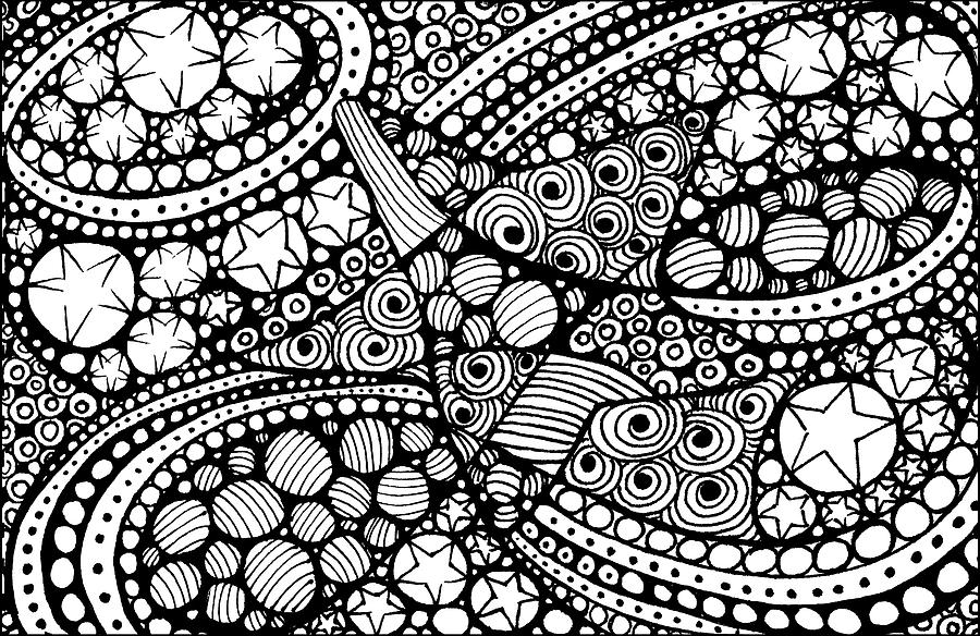 Pen Drawing - Tangled Stars  by Nada Meeks
