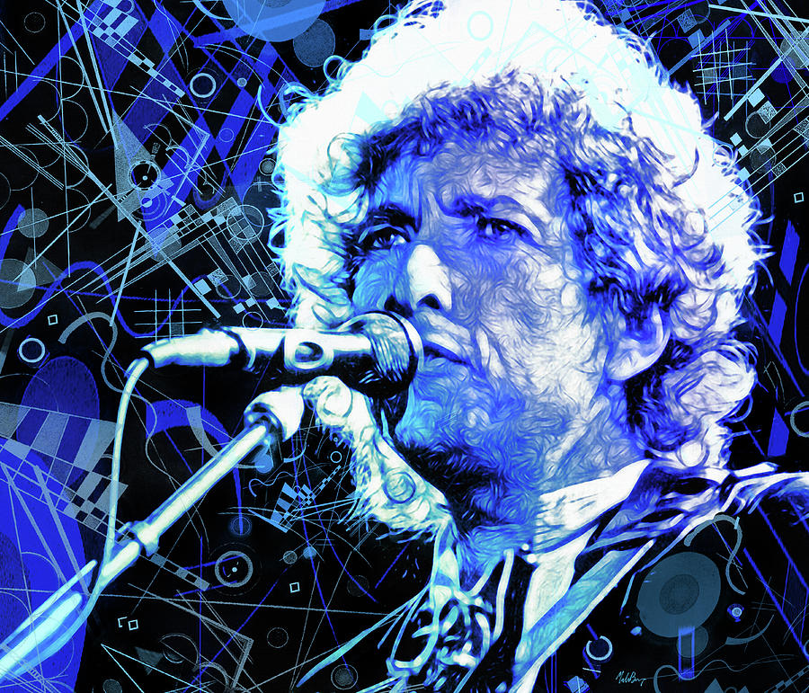 Bob Dylan Mixed Media - Tangled Up In Blue, Bob Dylan by Mal Bray