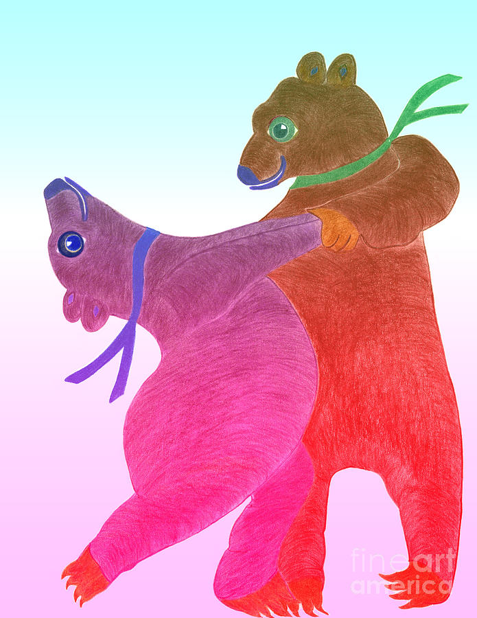 Bears Painting - Tango Bears by Tess M J Iroldi