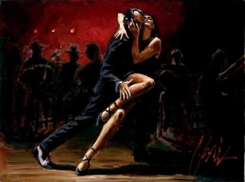 Tango in Red Painting by Fabian Perez