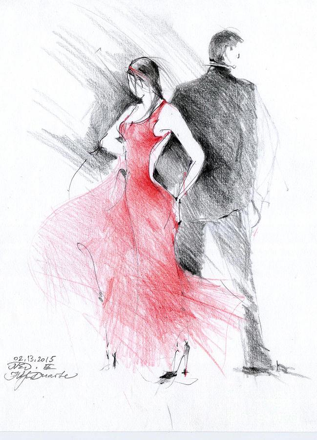 Tango Drawing - Tango by Natalia Eremeyeva Duarte