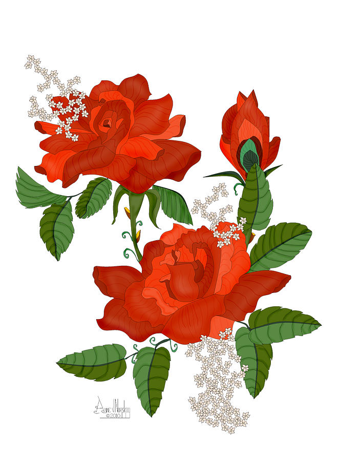 Red Roses Painting - Tanners Rose by Anne Norskog