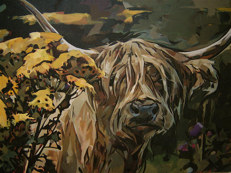 Cow Painting - Tansy Weed by Tim  Heimdal