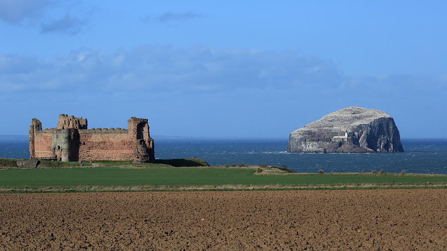 Tantallon Castle Photograph - Tantallon Castle And The Bass Rock by Maria Gaellman