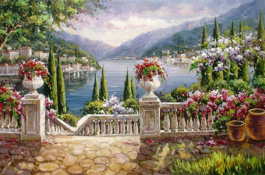 Tanti Fiori Sulla Terrazza Painting by Lucio Campana
