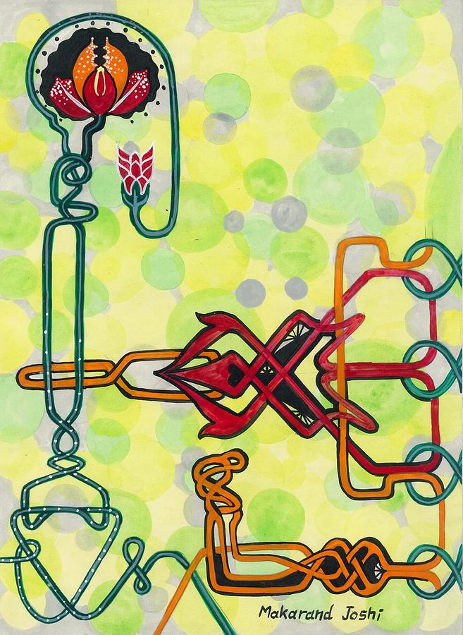 Home Decor Painting - Tantric Motif With A Flower by Makarand Joshi