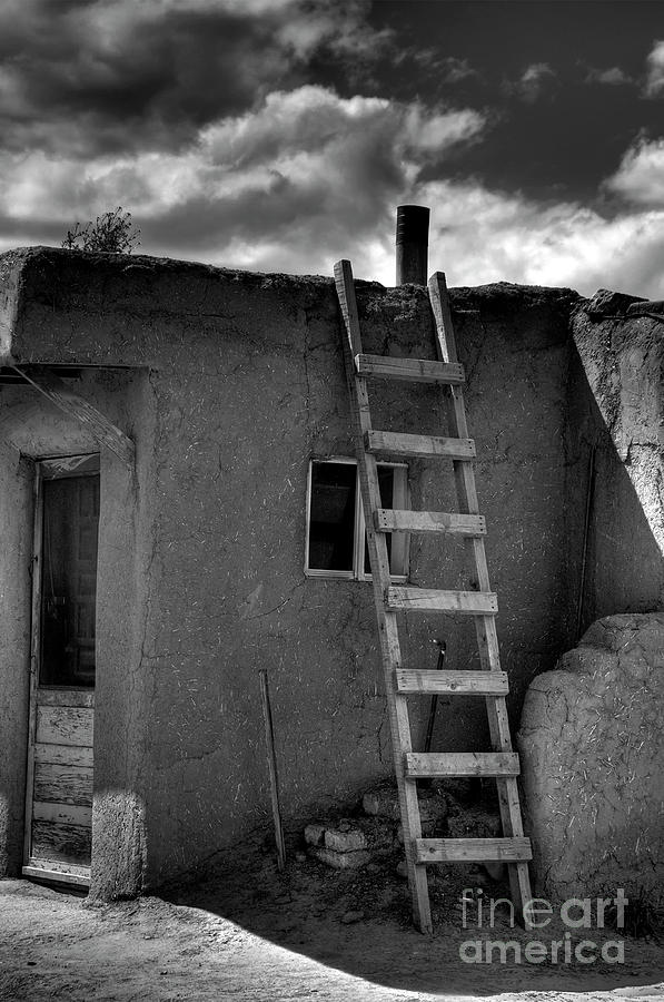 Structure Photograph - Taos Adobe And Ladder by David Waldrop