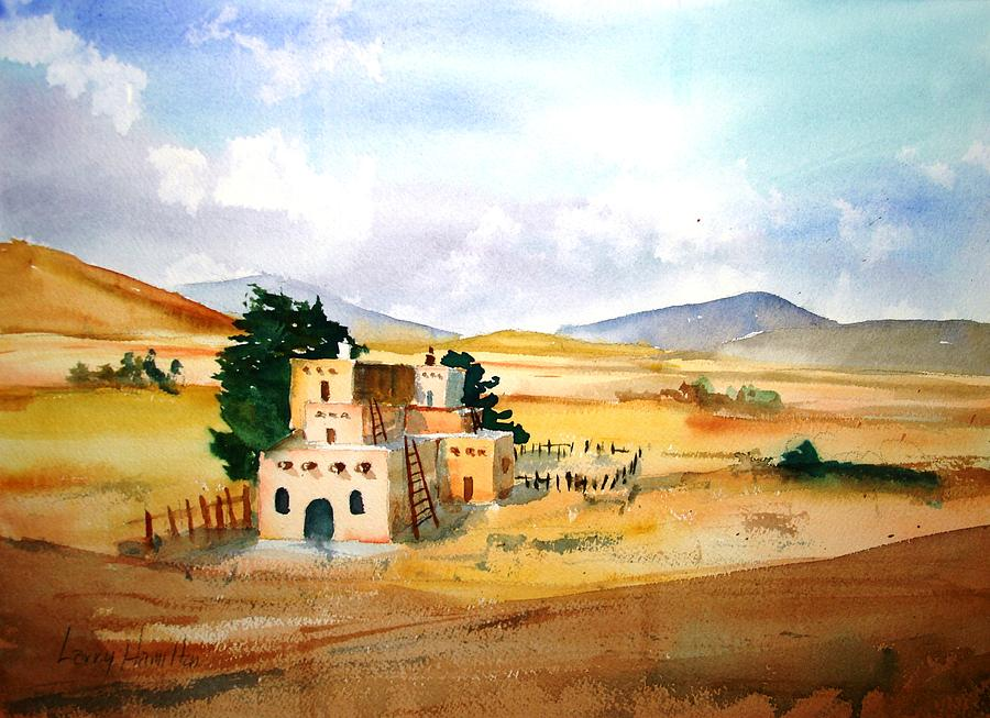 Watercolor Painting - Taos Adobe by Larry Hamilton