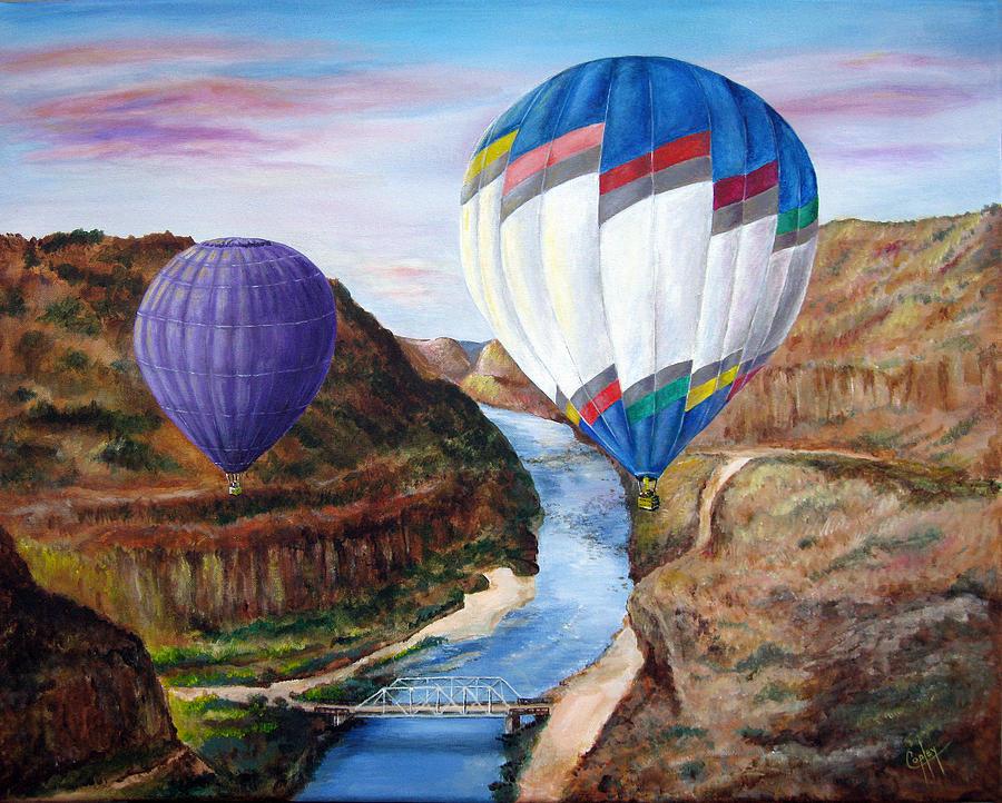 Balloon Painting - Taos Balloons Over The Rio Grande by Karen Copley