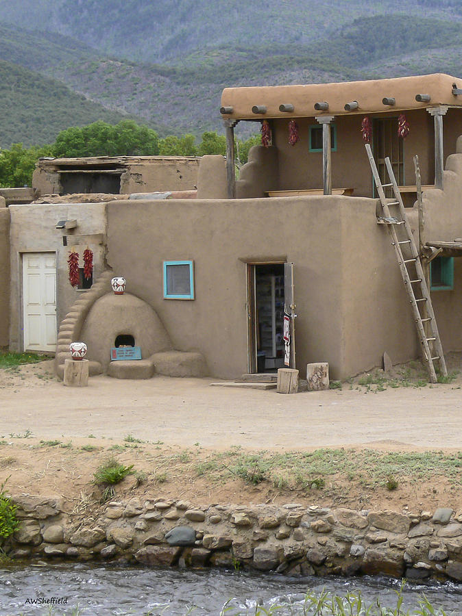 Taos Pueblo Adobe House With Pots Photograph