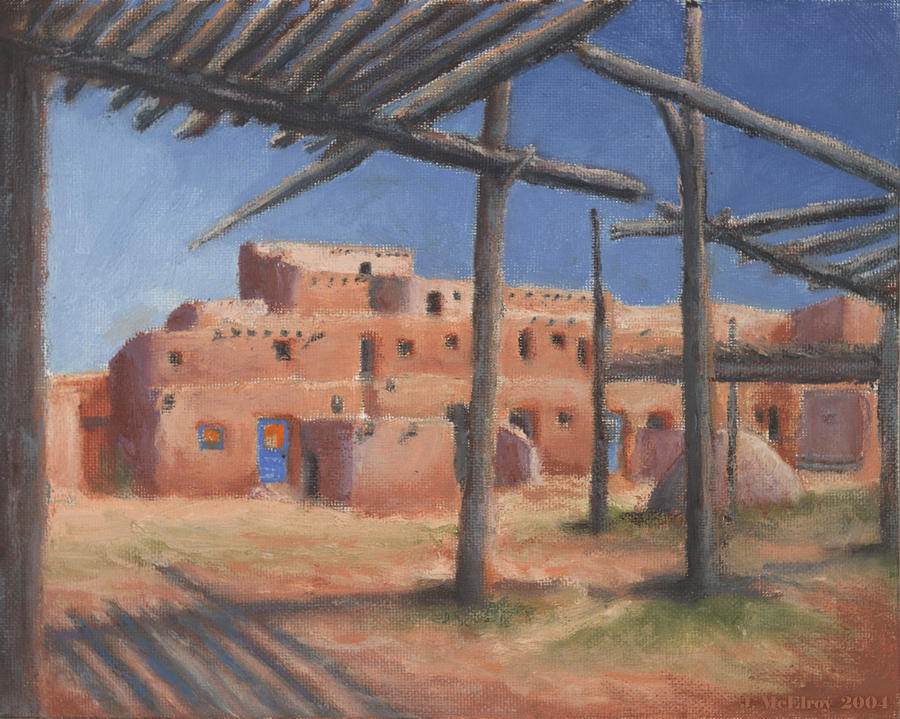 Taos Painting - Taos Pueblo by Jerry McElroy
