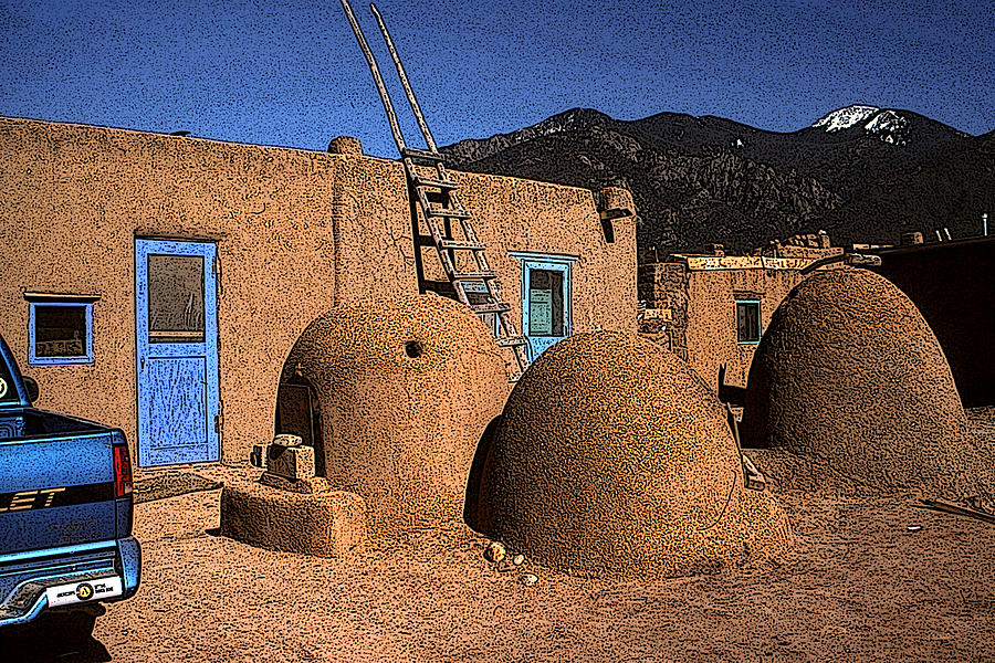 Adobe Taos Pueblo - New Mexico Artwork by Peter Potter