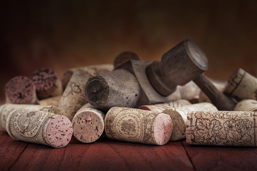 Aged Photograph - Tapped Out - Wine Tap with Corks by Tom Mc Nemar