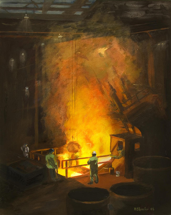 Industry Painting - Tapping The First Heat by Martha Ressler