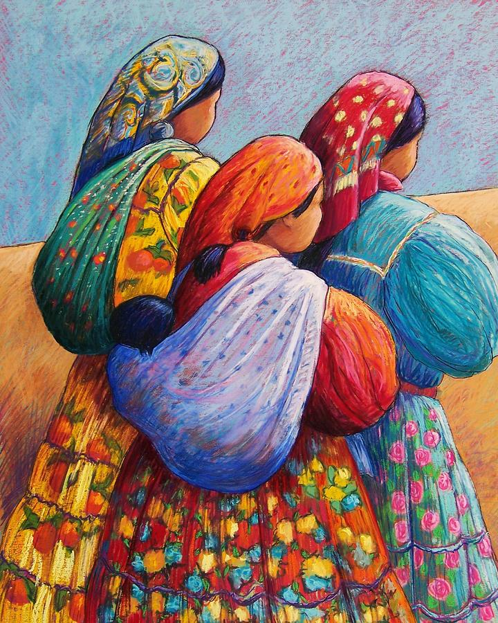 Mexico Pastel - Tarahumara Women by Candy Mayer