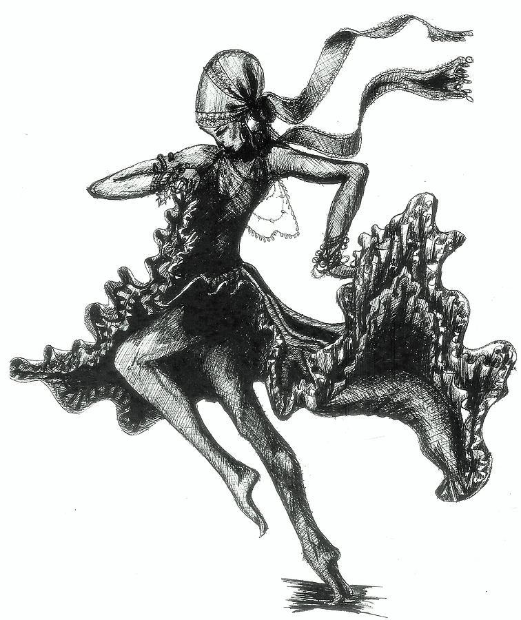 Dancer Drawing - Tarantella by Yvonne Ayoub