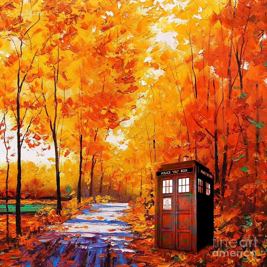Tardis Painting - Tardis Autumn by Koko Priyanto