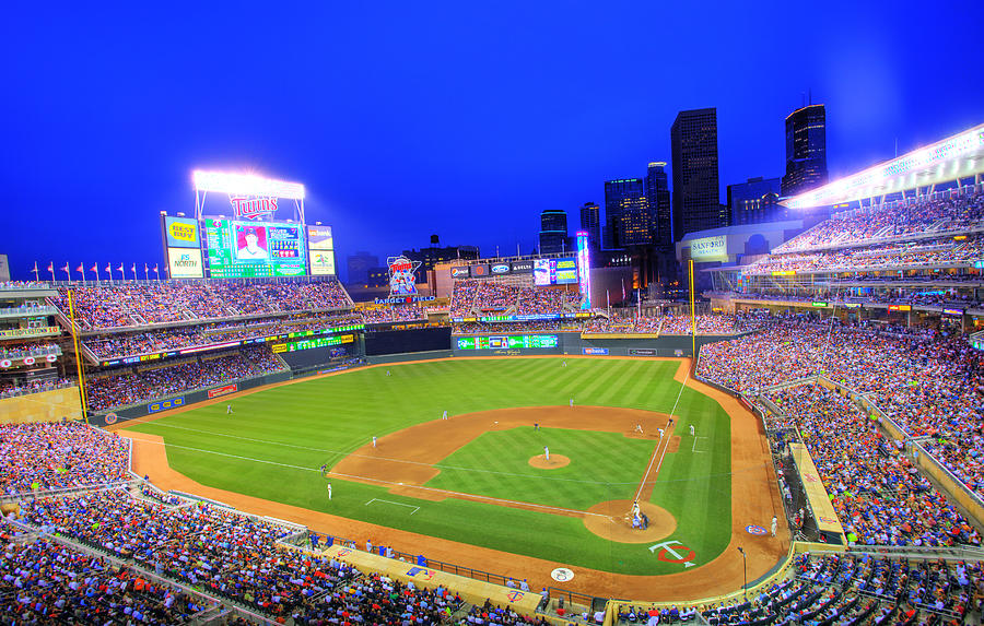 Target Field Photograph - Target Field At Night by Shawn Everhart