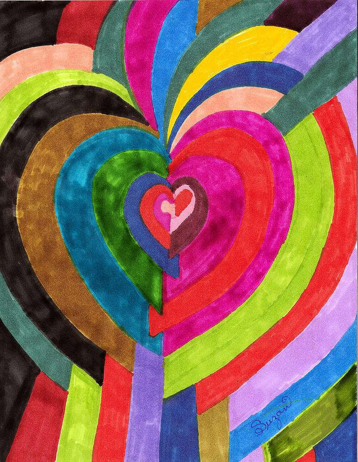 Abstract Painting - Target Hearts by Brenda Adams