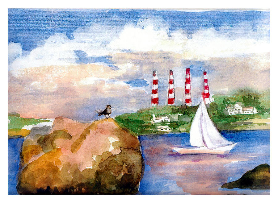 target rock and smokestacks painting by siona koubek