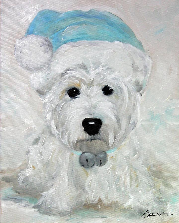 Westie Painting - Tarheel Santa by Mary Sparrow