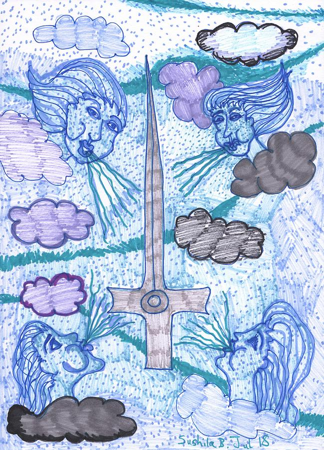 Tarot Drawing - Tarot of the Younger Self Ace of Swords by Sushila Burgess