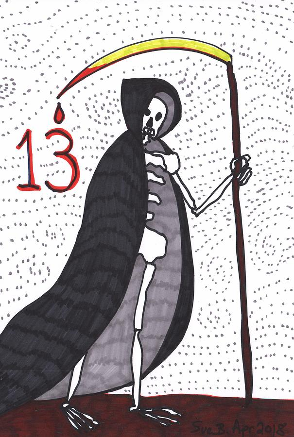 Tarot Drawing - Tarot of the Younger Self Death by Sushila Burgess