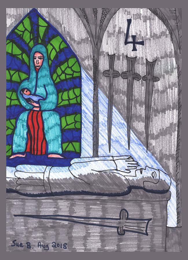 Tarot Drawing - Tarot Of The Younger Self Four Of Swords by Sushila Burgess