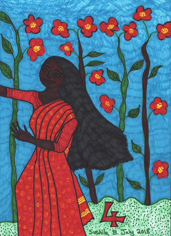 Tarot Drawing - Tarot of the Younger Self Four of Wands by Sushila Burgess