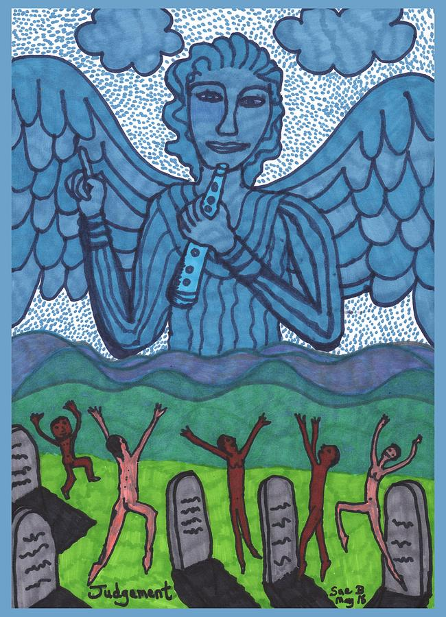 Tarot Drawing - Tarot of the Younger Self Judgement by Sushila Burgess