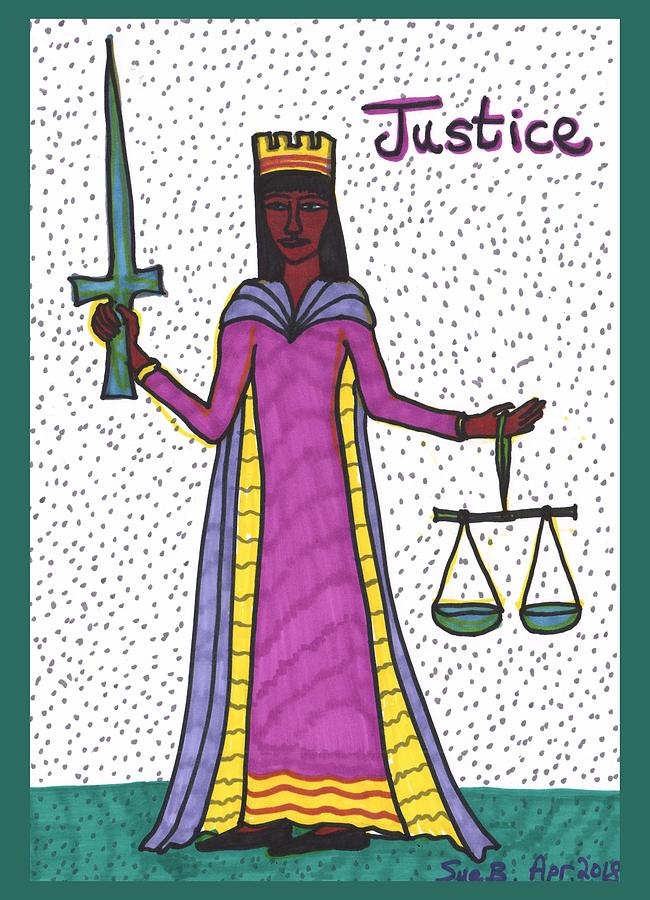 Tarot Drawing - Tarot of the Younger Self Justice by Sushila Burgess