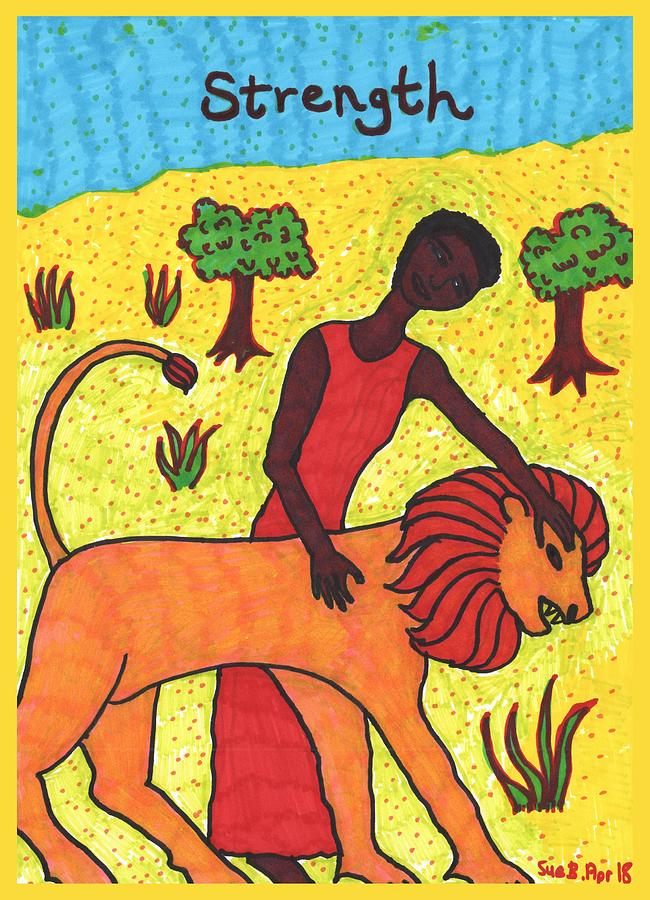 Tarot Drawing - Tarot Of The Younger Self Strength by Sushila Burgess