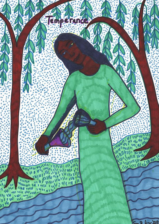 Tarot Drawing - Tarot of the Younger Self Temperance by Sushila Burgess