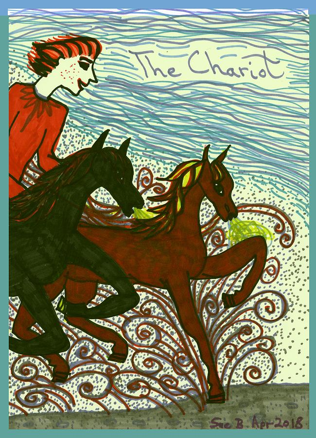 Tarot Drawing - Tarot of the Younger Self the Chariot by Sushila Burgess