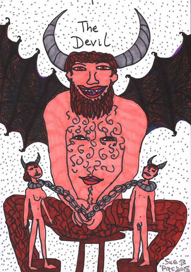Tarot Drawing - Tarot of the Younger Self the Devil by Sushila Burgess