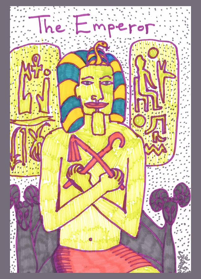 Tarot Drawing - Tarot Of The Younger Self The Emperor by Sushila Burgess