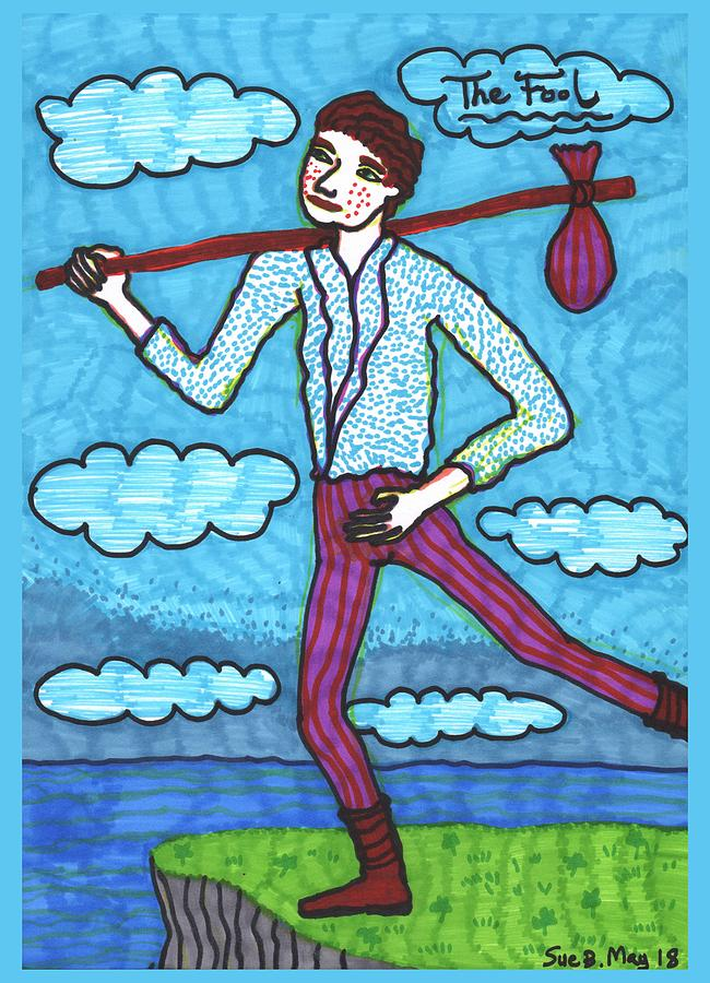 Tarot Drawing - Tarot of the Younger Self the Fool by Sushila Burgess