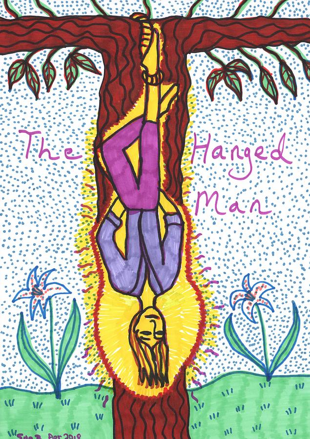 Tarot Drawing - Tarot of the Younger Self the Hanged Man by Sushila Burgess
