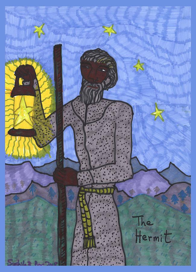 Tarot Drawing - Tarot Of The Younger Self The Hermit by Sushila Burgess