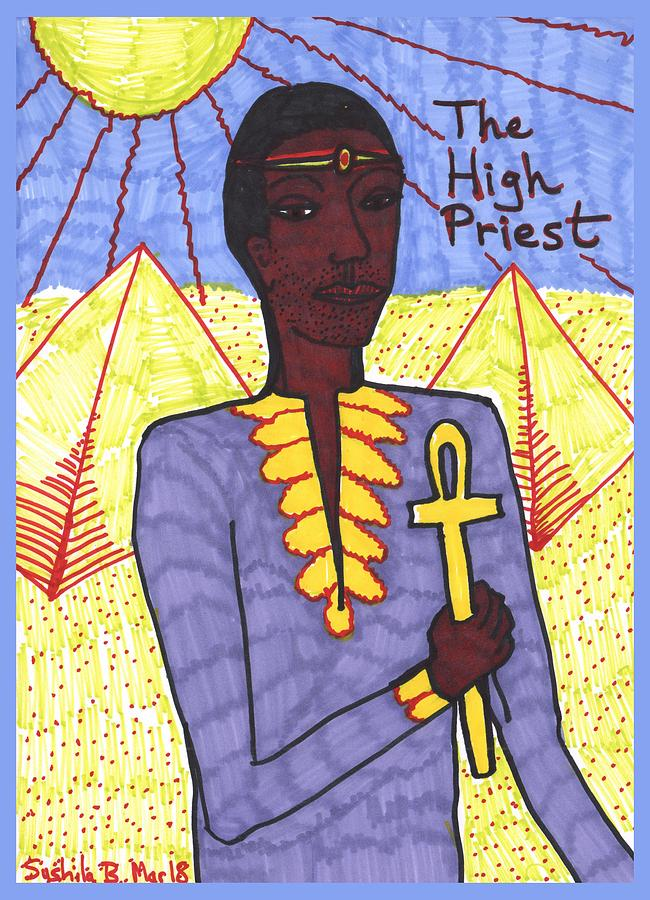Tarot Drawing - Tarot of the Younger Self the High Priest by Sushila Burgess