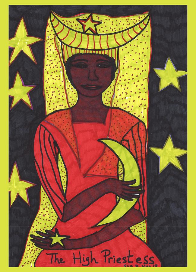 Tarot Drawing - Tarot Of The Younger Self The High Priestess by Sushila Burgess