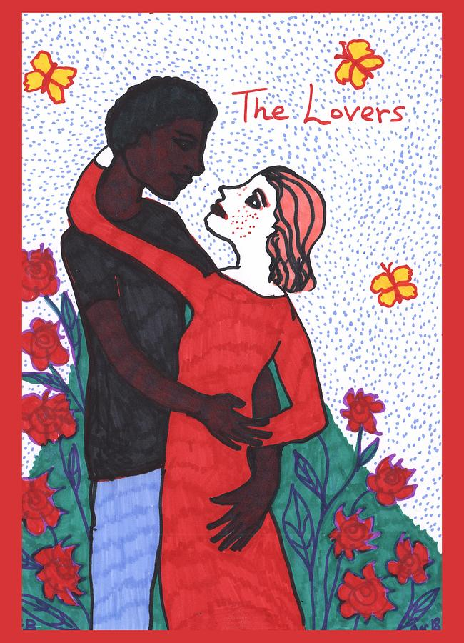 Tarot Painting - Tarot Of The Younger Self The Lovers by Sushila Burgess