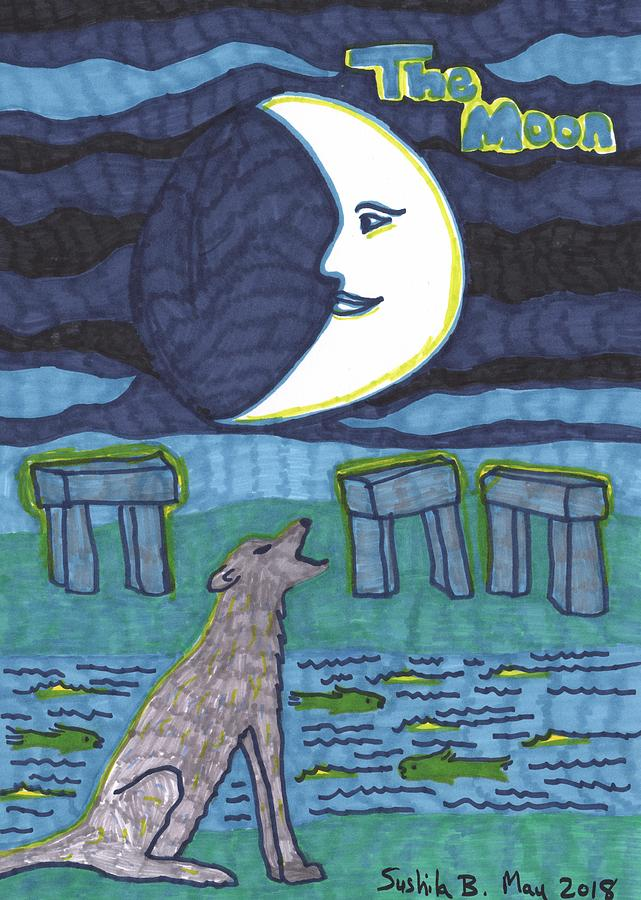 Tarot Drawing - Tarot of the Younger Self the Moon by Sushila Burgess