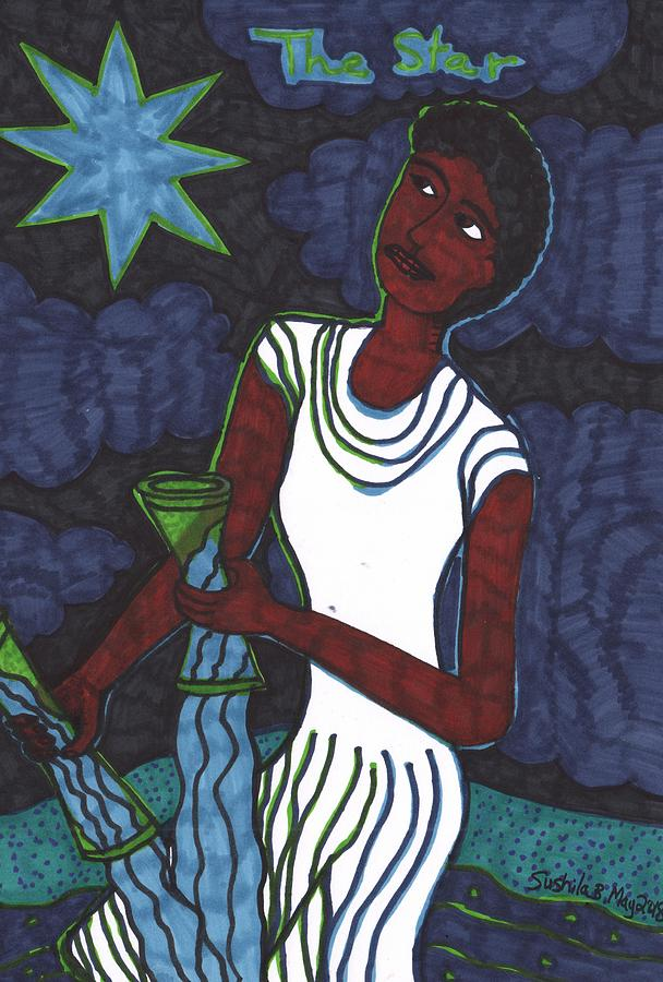 Tarot Drawing - Tarot of the Younger Self the Star by Sushila Burgess