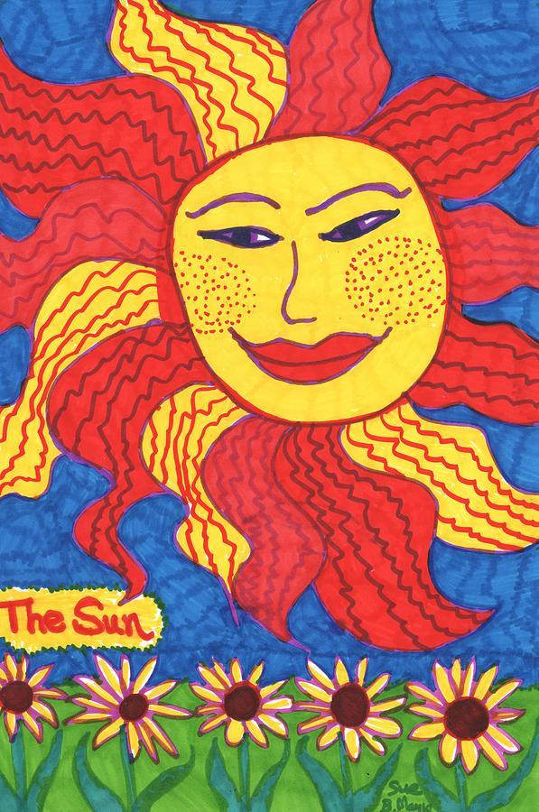 Tarot Drawing - Tarot of the Younger Self the Sun by Sushila Burgess