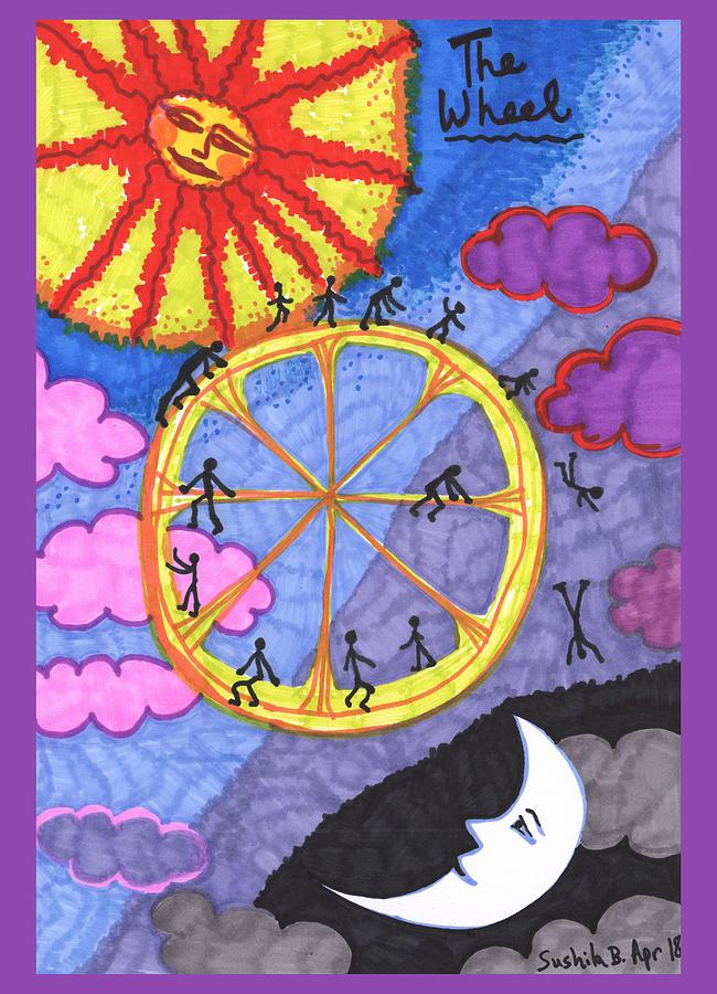 Tarot Drawing - Tarot Of The Younger Self The Wheel by Sushila Burgess