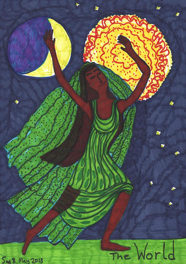 Tarot Drawing - Tarot Of The Younger Self The World by Sushila Burgess