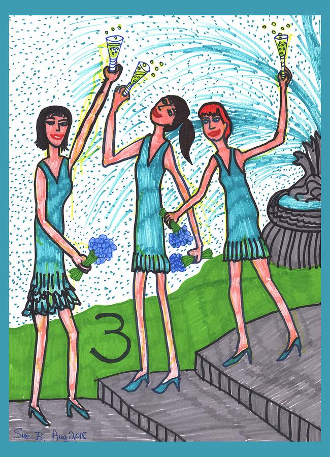 Tarot Drawing - Tarot of the Younger Self Three of Cups by Sushila Burgess