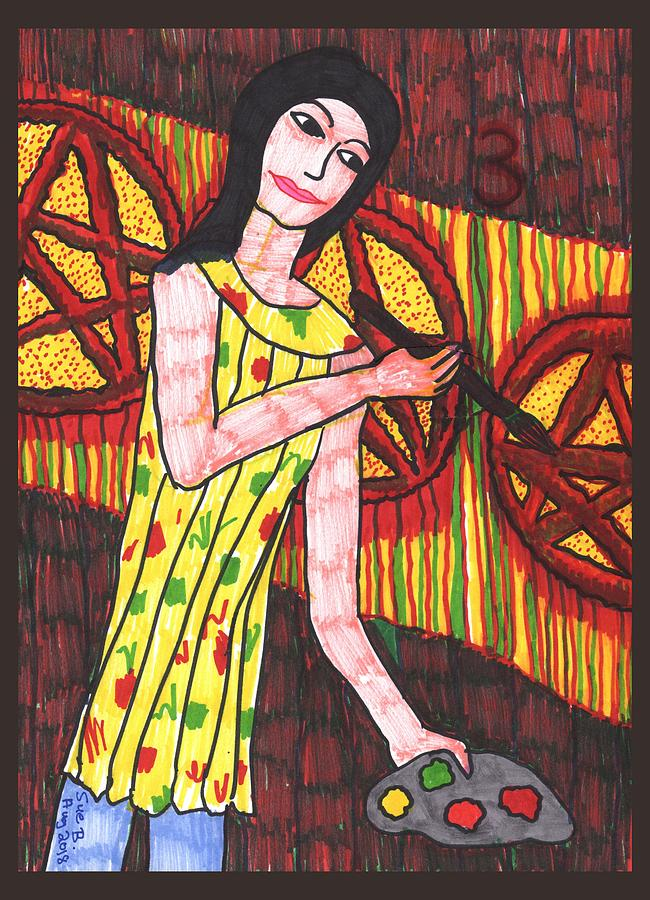 Tarot Drawing - Tarot Of The Younger Self Three Of Pentacles by Sushila Burgess